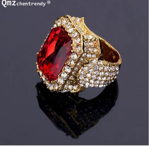 Newest Gold Ice Out Shiny Full Crystal Red Stone Gem Ring Hip Hop Bling Rock Punk Size For Men Women Tide Brand Rings Jewelry