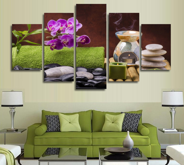 5 Pieces/set Spa Still life Wellness Relax Printed Canvas Painting Wall Art Pictures Home Decoration for Living Room Unframed