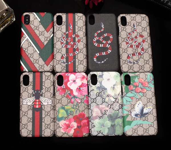 For IPhone XS Max Vogue Phone Case for IPhone X 8 8plus 7 7plus 6 6s Plus Smartphone Skin Shell Cover with Popular Bee Flower Snake Printing