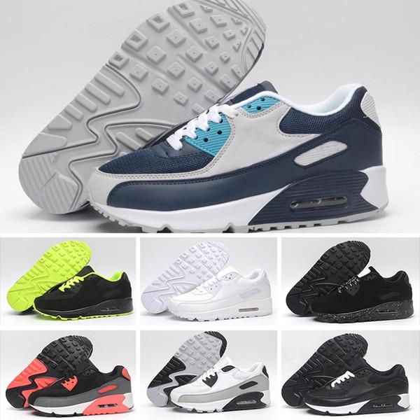 new product a4e43 947d3 Nike Air Max 90 Venta caliente clásico 90 Hombres mujeres Zapatos  Corrientes Negro Rojo Blanco Deportes