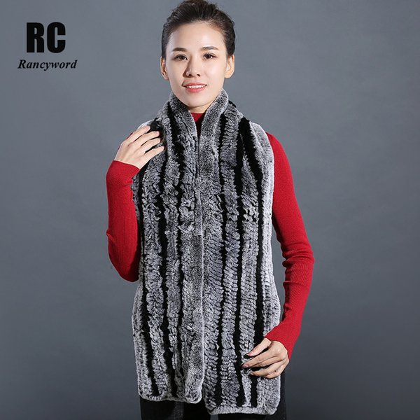 [Rancyword] 100% Real Rex Rabbit Fur Scarves For Women Natural Fur Wraps Handmade 2018 New Fashion Long Winter Scarf Lady RC1352