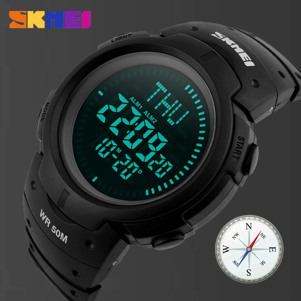 SKMEI Men Sports Watches World Time Countdown Hiking Watch 3 Alarm Digital LED Outdoor Compass Wristwatch 50m Waterproof Clock