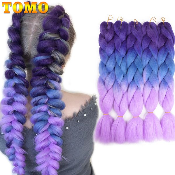 TOMO Braiding Hair 1 piece 24inch Jumbo Braids 100g/piece Two Or Three Tone Purple Blue Pink Synthetic ombre Kanekalon Fiber Hair Extensions