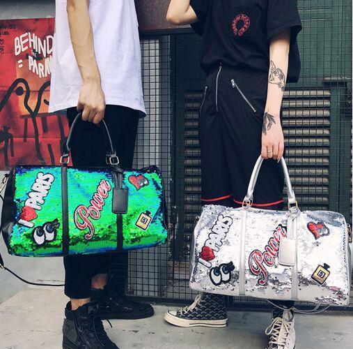Couple portable diagonal package sequin luggage large capacity yoga gym bag fashion casual handbag men women travel bags outdoor bag #Z1