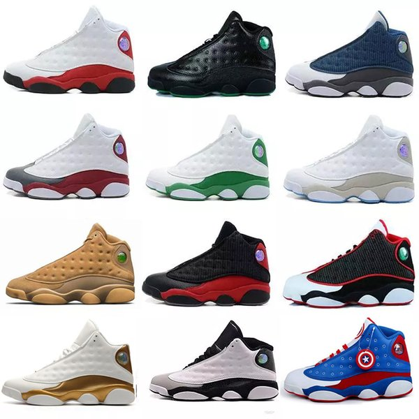 Cheap 2019 mens 13 shoes men 13s shoes Pure Money Royalty White Cement Black Bred Fire Red womens shoes Sneakers size 5.5-13