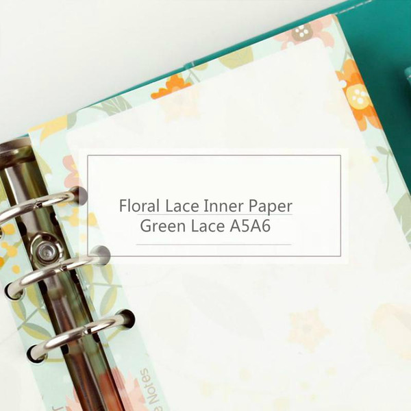 Wholesale- Jamie Notes Floral Green Lace Inner Paper A5a6 For Filofax Dokibook Personal Planner With Spiral Retro Refill Filler Paper Core