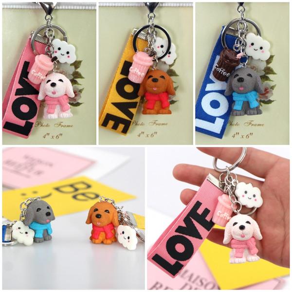 Craetive Cute Pet Dog Coffee Wind Pendant Pvc Key Chain Charms Animal Keyring 4 Color Cute Key Ring Bag Pendant Backpack Gift D518L