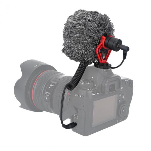 Kompakt On-Kamera Video Mikrofon Standı ile Rüzgar Geçirmez Kalkan Kayıt Mikrofon iPhone HuaWei Smartphone için DJI Osmo Canon DSL için