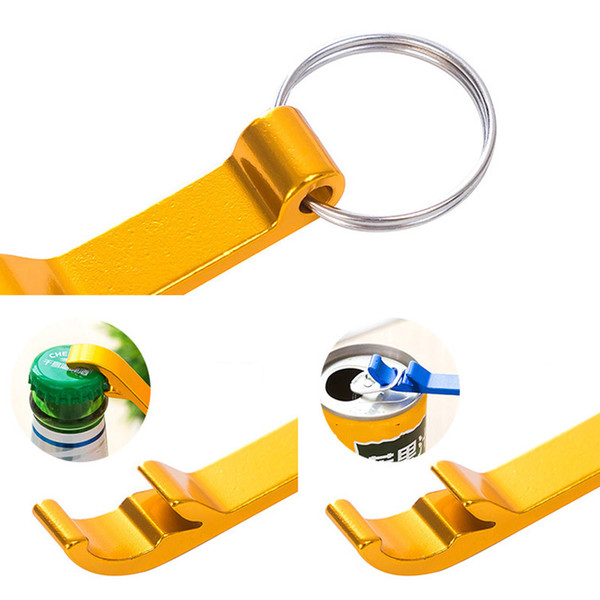 top popular Portable mini Bottle Opener Keychain multi colors Metal Beer bottle can openers home Bar party Tool 2019