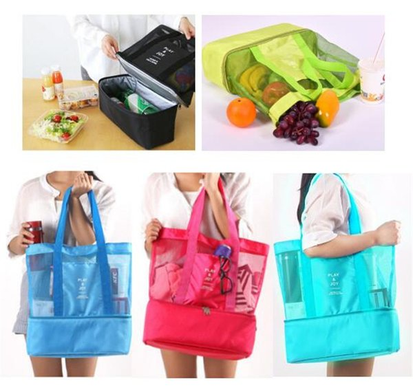 Mulifunction Lunch bag Insulated Cooler Picnic Handbag Nylon Outdoor Travel bags Kitchenware Makeup Storage Bags Mesh Tote students bag New
