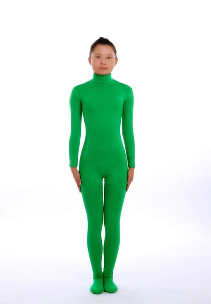 Kid Adult Green Lycra Spandex Zentai costume dancewear Unitard Bodysuit No Hood & Hands