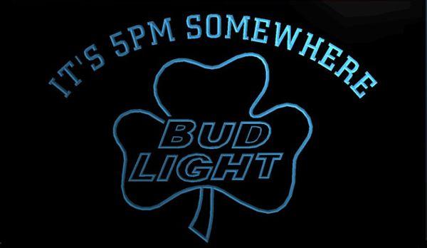 LS1321-g-It-s-5-pm-Somewhere-Bud-Shamrock-Neon-Light-Sign