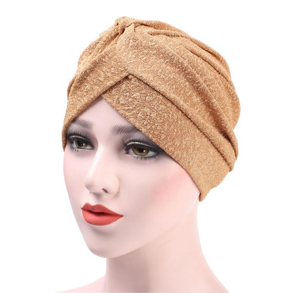 New Rhinestone Embellishment Simple Muslim Turban Cap For Women Skullies Beanies Hats Girl Headwear Female Hair Accessories Wholesale