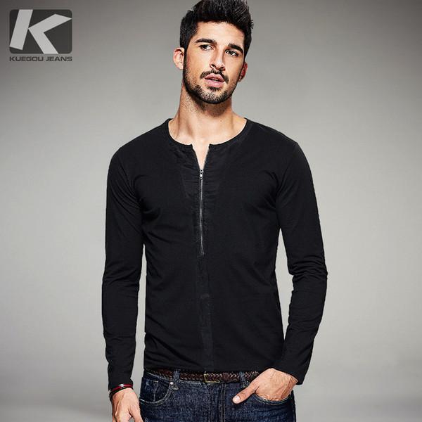 KUEGOU Otoño Mens Camisetas Casual Zipper Patchwork Ropa de Marca de Color Negro Para Hombre Delgado Camisetas de Manga Larga Tops Tee 1098