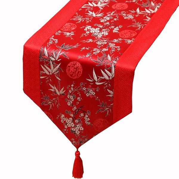 top popular 150 x 33 cm short Long Bamboo Silk Satin Table Runner Home Decoration Damask Coffee Table Cloth Rectangular Christmas Table Mats 2021