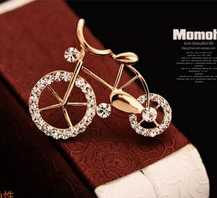 Lovely bike crystal vintage brooch for women chest flower sweater large pin scarf button shawl button dual purpose