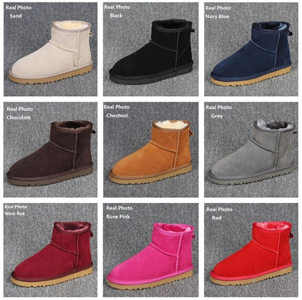 2018 new Women Snow Boots Australian Style Cow Suede Leather Waterproof Winter Warm Ankle Boots Brand Ivg 12 Colors Plus Size US3-14 Ugs