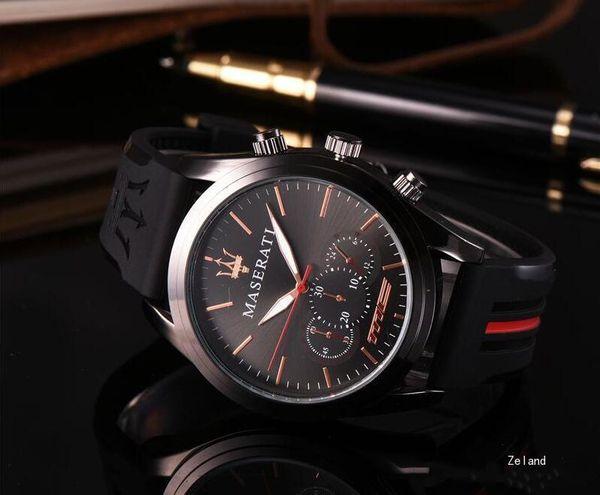 Alta Qualidade Falso Sub Disque Men Moda Relógios Elegante Silicone Banda Diária À Prova D 'Água Relógios De Quartzo-Bateria Relógios Presente Do Dia Dos Namorados