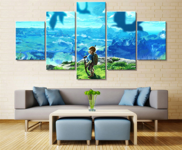 The Legend of Zelda Breath,5 Pieces HD Canvas Printing New Home Decoration Art Painting/(Unframed/Framed)