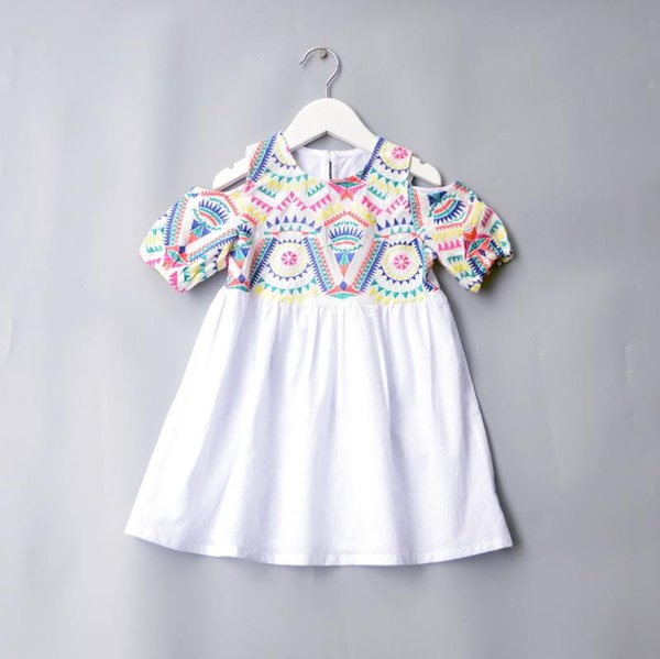 baby girl dresses denim Children's Garment Unique Full Strapless Cotton Dress Embroidery Nation Wind Princess Skirt size 90-130