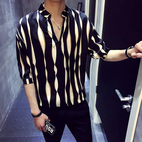 top popular 2018 New Summer Men's Loose Stripes Half Sleeve Shirt Korean Version V - Neck Cuff Handsome Middle Sleeve Shirts Men 2020