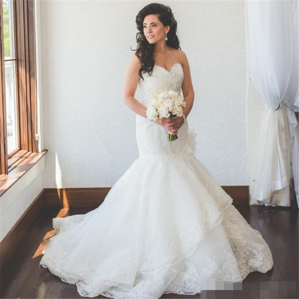 2018 Vintage Lace Mermaid Wedding Dresses Bridal Gowns Sweetheart Neckline country Wedding Gown Custom Made plus size