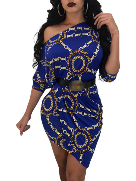 One Slanted Shoulder Chain Printing Long Sleeved Dress with Sexy Package Hip Blue Color Summer Dress