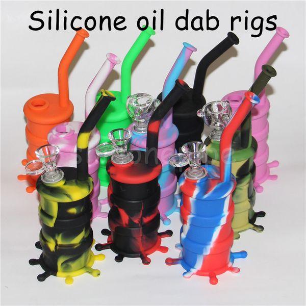 Silicone siliconico per tubi d'acqua in silicone arrivel Bong siliconico rimovibile in silicone Bong lungo bong in vetro Altezza 8.26