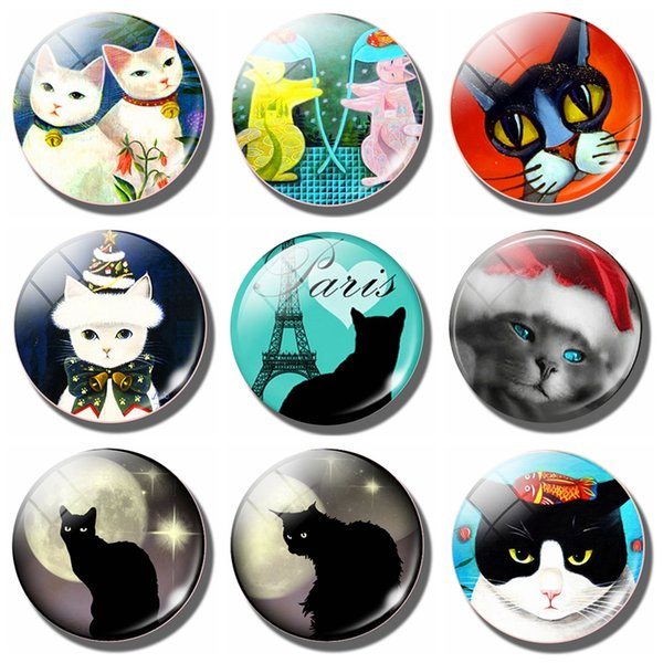 Lovely Cat 30 MM Fridge Magnet Funny Black Cat Moon Paris Lover Glass Dome Magnetic Refrigerator Stickers Note Holder Home Decor