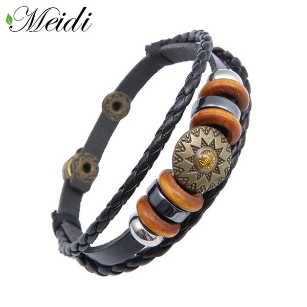 MEIDI Punk Rock Men Leather Charm Bracelets Vintage Fashion Sunflower Pattern Alloy Bracelet For Women Jewelry Rope Chain SP1077