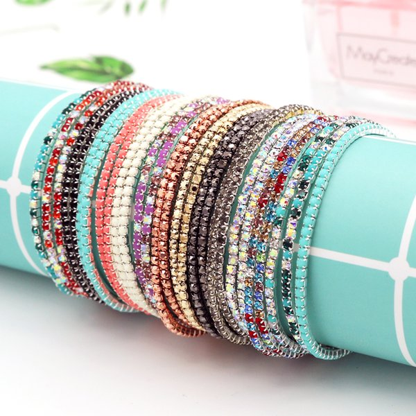 Wholesale 5pcs/lot 17cm Round Colorful Glittering Claw Cup Chains Full Rhinestones Bangle Bracelet Girl Jewelry DIY Accessories
