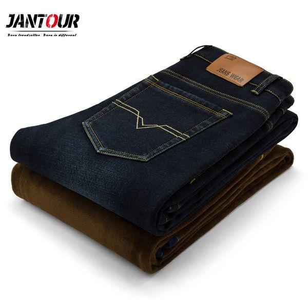 Erkek Kış Fleece Jeans Erkek Klasik Stretch Sıcak Fanila Denim Pantolon Elastik Erkek Jeans Erkek Sıcak Pantolon mens