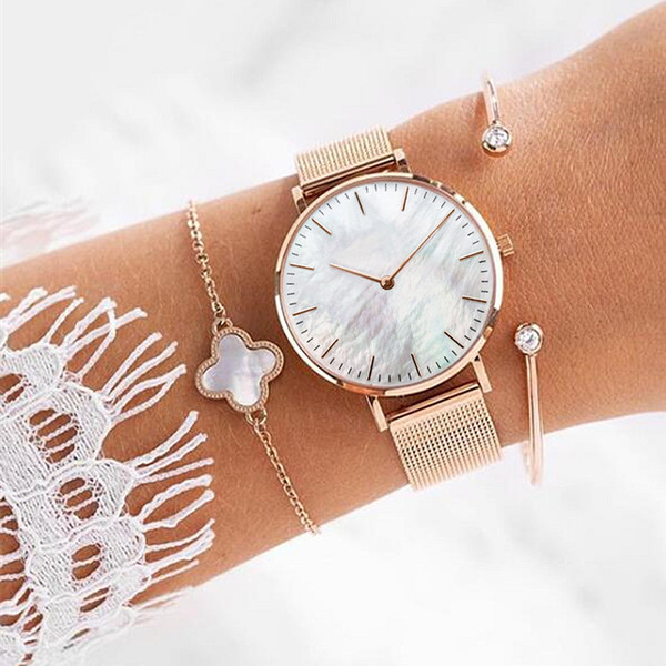 Mavis Hare Be unique Rose Gold Seashell Mesh Watches with clover seashell Chain Bracelet & Crystal Cuff Rose Gold Bangle