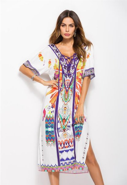 2018 summer hot new European and American women's fashion loose large size printing on both sides of the split dress 121