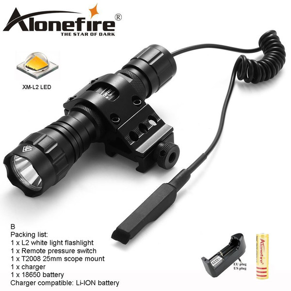 AloneFire 501Bs CREE XM-L2 Tactical Flashlight Torch Hunting Lantern with Mount Remote Control Pressure Switch tactical mount for 18650