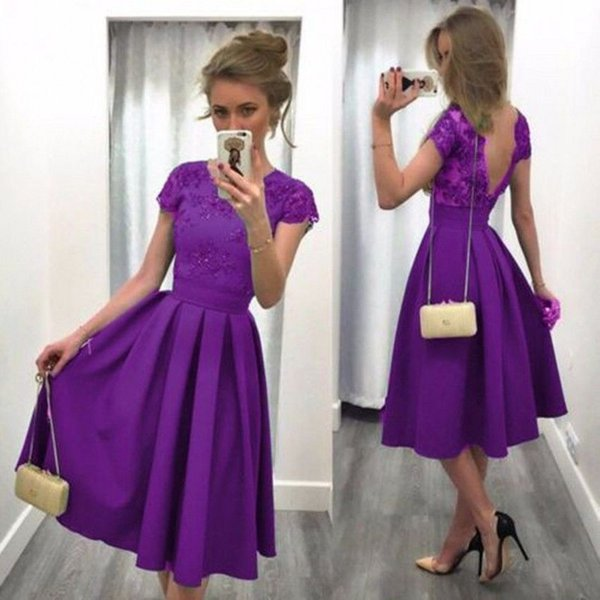 Elegant Short Purple Satin Prom Evening Dresses Lace Formal Party Bridal Gowns Custom Special Occasion Prom Bridesmaid Party Dress 17LF614