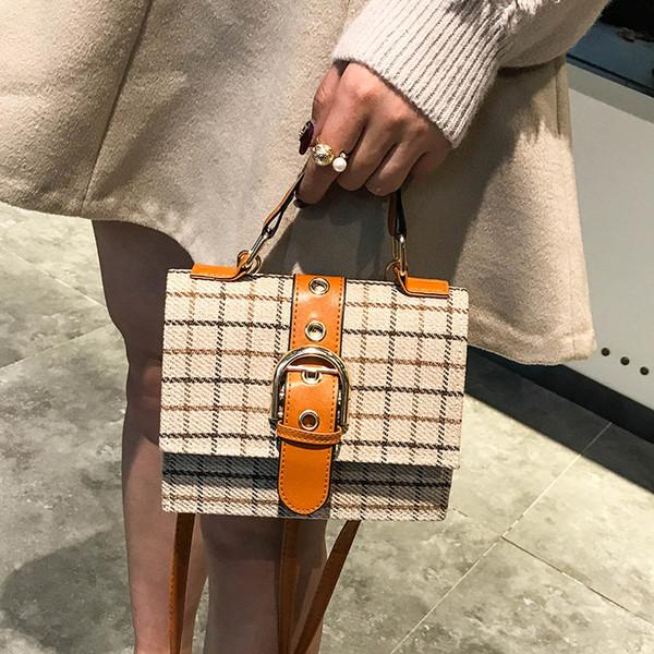 Messenger Bags For Women 2018 Ladies Korean Style Plaid Wool Leather High Quality Belt Mini Shoulder Bag Elegant Handbag W457
