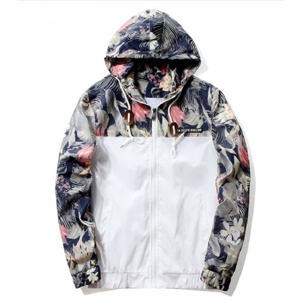 Fashion 2018 Floral Bomber Jacket Men Hip Hop Slim Fit Flowers Pilot Bomber Jacket Coat Men Hooded Jackets Plus Size 5XL M31