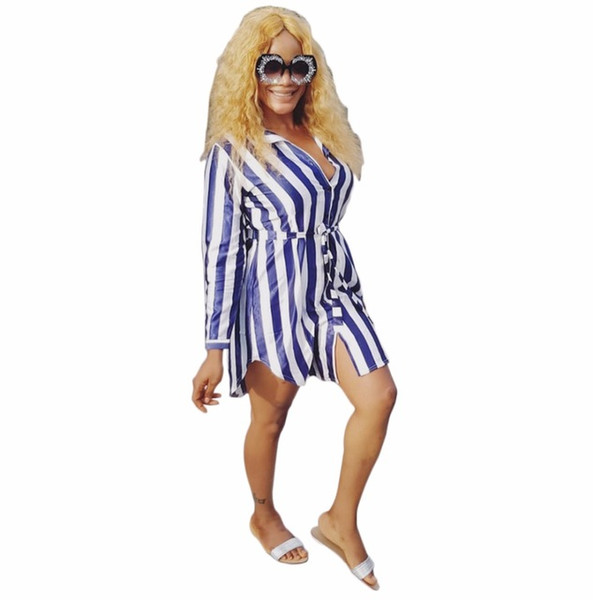 2018 Summer Dresses Stripe Print Sashes Button Shirt fashion Women Bandage bodycon Casual Sexy Mini Dresses