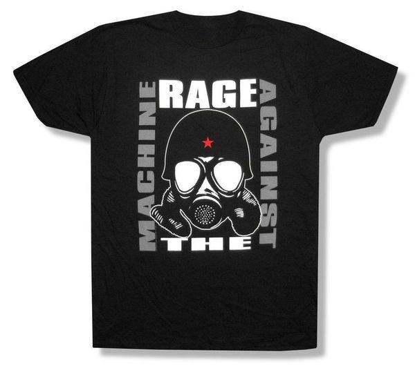 Ярость против машины противогаз изображение черный футболка новый официальный RATM мягкий хлопок прохладный дизайн 3D футболки МОДА СТИЛЬ