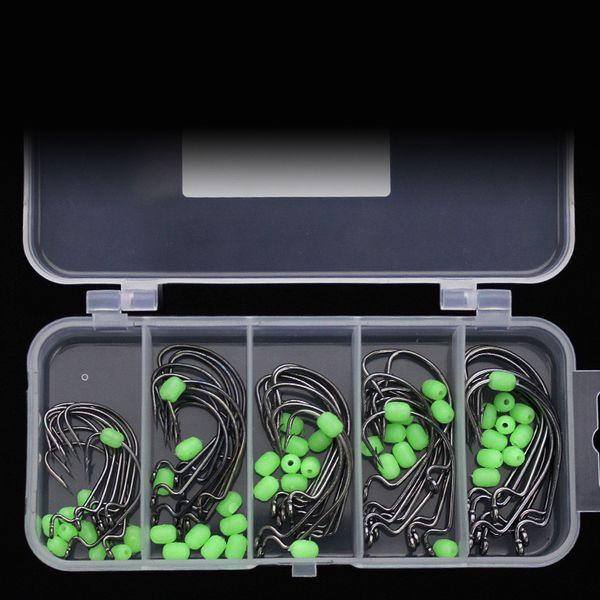 Fishing Worm Hook Soft Bait Fishhooks Glow Beans Antiskid Grub Lure Hooks With Luminous Balls 50 Pieces Set