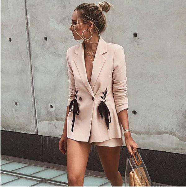 Gravata rosa terno casaco de moda 2018 nova Moda terno sexy Gravata duplo peito gravata paletó Rosa máquina de coração da menina