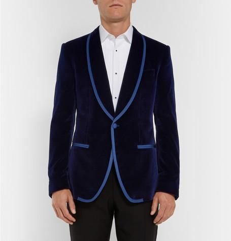 New Arrivals One Button Dark Blue Velvet Groom Tuxedos Shawl Lapel Groomsmen Best Man Blazer Mens Wedding Suits (Jacket+Pants+Tie) D:71