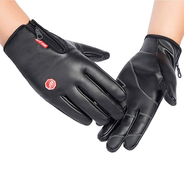 A Pair of outdoor cycling gloves winter leather waterproof windproof touch screen warm ski gloves