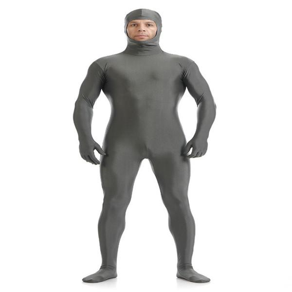 (SOF005) Gray Lycra Spandex Full Body Fetish Zentai Skin Tights Unisex Bodysuit Cosplay Costume Unitard Jumpsuit Dancewear