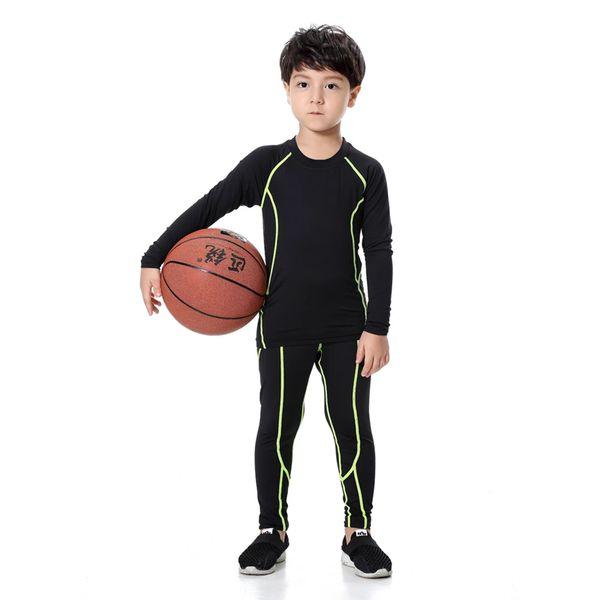 2017 kids compression set children football basketball training suit running clothing fitness jogging leggings tights shirt tops