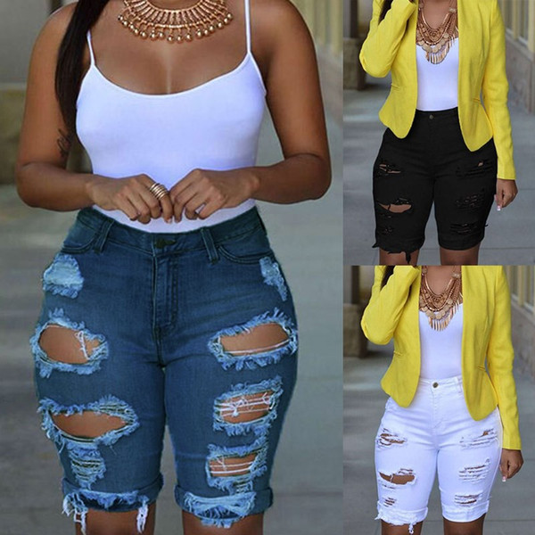 Sexy Summer New Fashion Women Ripped Holes Knee-Length Jeans Denim Pants Skinny High Wasit Blue White Casual Pencil Pants