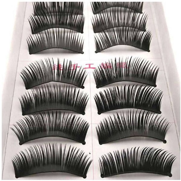 Thick False Eyelashes Handmade Black Dense Cross Exaggerated Eye Lashes Fashion Ball Smoke Makeup Fake Eyelashes 10 pairs/box