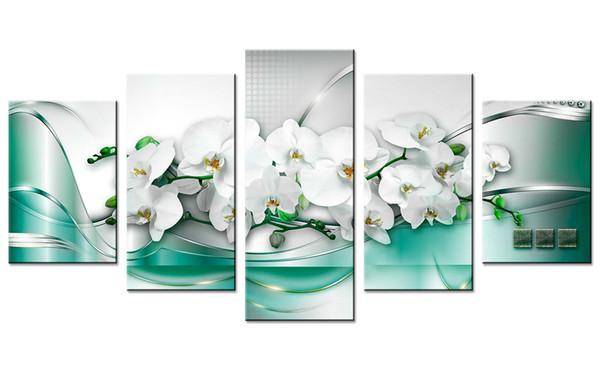 5 Шт. Холст Картины Белые Цветы Орхидеи Wall Art Живопись Зеленая Лента Фон Wall Art Для Домашнего Декора с Деревянными Рамками Подарки