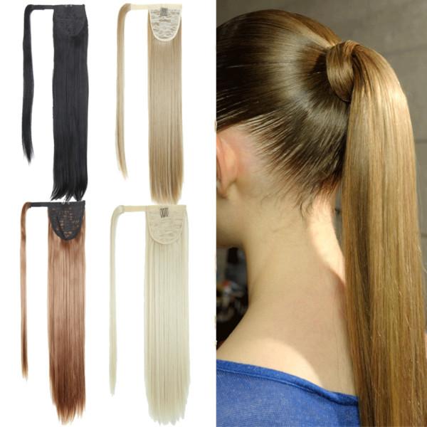 2018 Bayan kimyasal elyaf herhangi bir cilt rengi kısa sahte saç sihirli sopa düz at kuyruğu klip bayan doğal renk saç